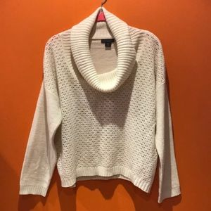 NEW Ivory & Gold Metallic Cowl Neck Sweater Top XL